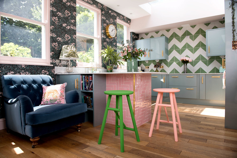 The Pink House kitchen with green Bert and May Alalpardo encaustic tiles