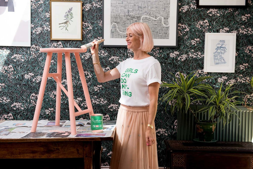 Using the peachy-pink Ida by Painthouse to paint a wooden stool