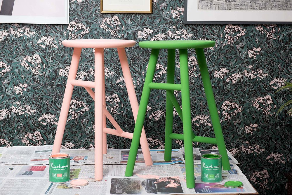Upcycled pink and green furniture in The Pink House
