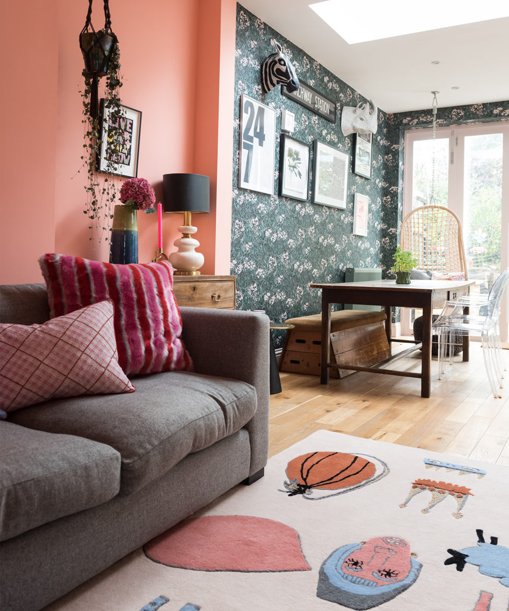 The Pink House dining room with hanging chair