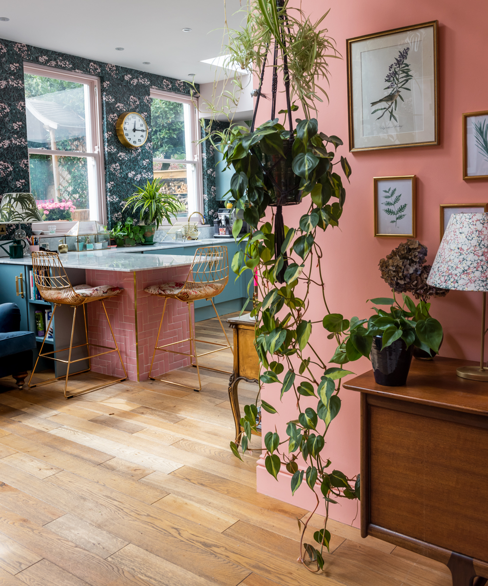 The Pink House pink and marble kitchen tiles