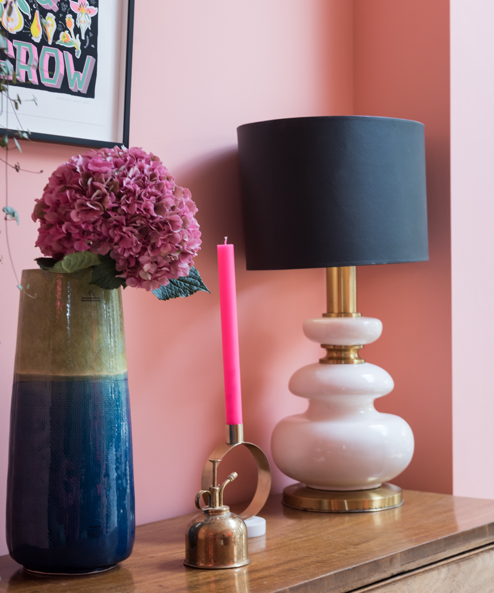 Styled sideboard with vintage lamp
