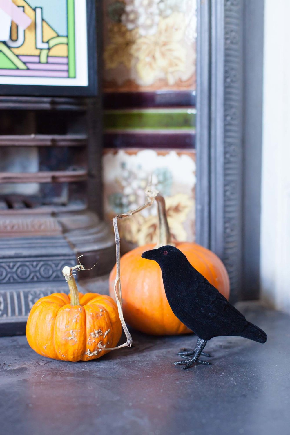 Sainsbury's Halloween crow and pumpkins