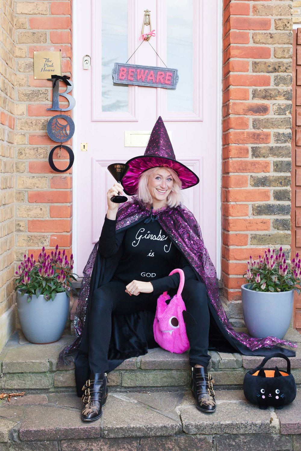 Sainsbury's Tu Pink witch costume and 'Only here for the Boo's' cocktail glass