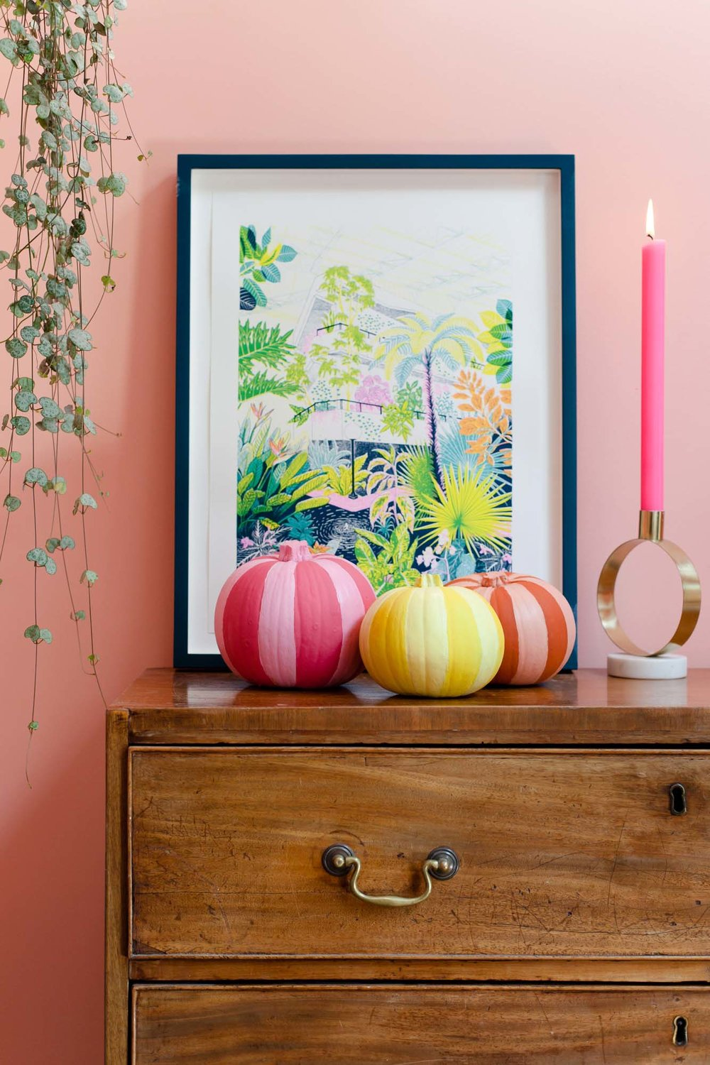 Painted multicoloured striped pumpkins