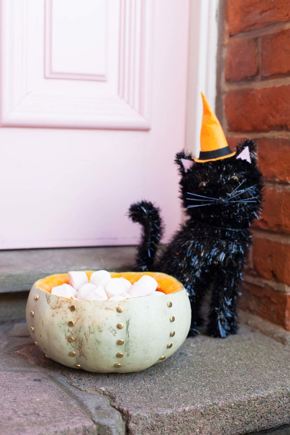 Sainsbury's Halloween cat decoration and studded pumpkin
