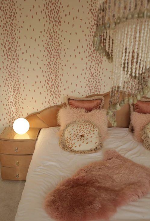 Wallpaper in Tottenham Dalmatian Pinky  (Poodle & Blonde), £105 per roll