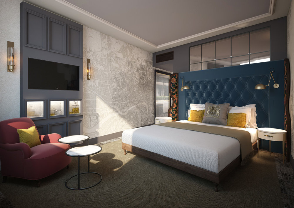 The beautiful jewel toned bedrooms at  Vintry and Mercer