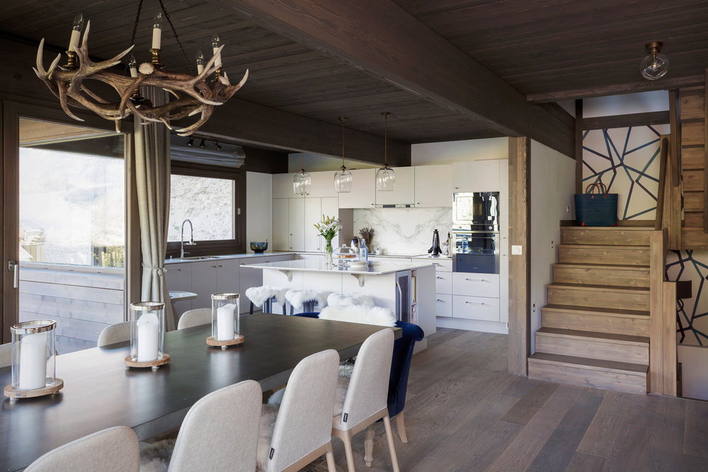The kitchen/dining area at Chalet Mirabelle, St Gervais