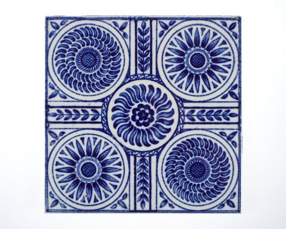 Antique 1890s Minton Blue & White Aesthetic Movement Pottery Tile from  Simon Curtis