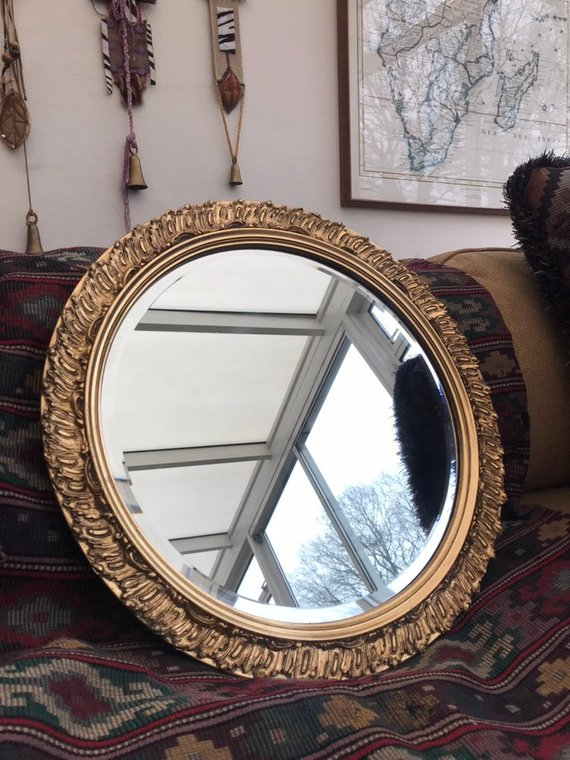 Vintage Decorative Round Gold Mirror from  Reclectic Emporium