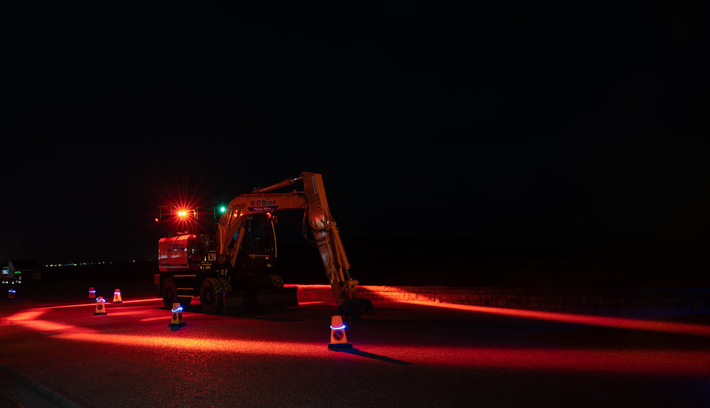 M O' Brien Plant Hire Vehicle equipped with FHOSS HALO EXCLUSION 7 light system.