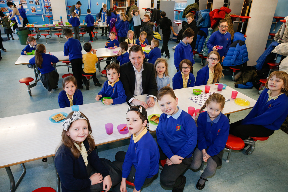 Gareth Henderson, MD of Orchard FM, drops in at one of Town Foundation's Early Kick Off breakfast clubs
