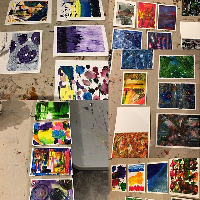 A sampling of today's artists' work @gildasclubtoronto. 5 artists with very individual styles. They were encouraged to experiment and go outside their comfort zones. #makeyourmark #gildasclub #paintingforjoy #experimentwithpaint #paintingtools #norules #wellmaybeafew