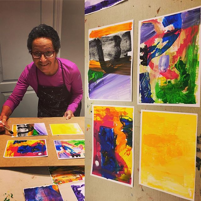 Make Your Mark at @gildasclubtoronto with work by an enthusiastic participant @awesomemissmew. #paintingforjoy #experimentwithpaint #paintingtools #makeyourmark #pushingpaint #newskills #outofthebox #gildasclub