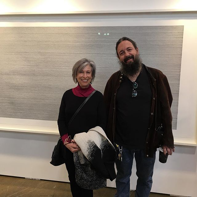 At Art Toronto today. Stopped to talk with Ken Nicol in front of his piece Field ll purchased by AGO. Fascinating work and artist. #kennicol #torontoartist #inkonpaper #repetitiveart #mindboggling #olgakorpergallery #arttoronto