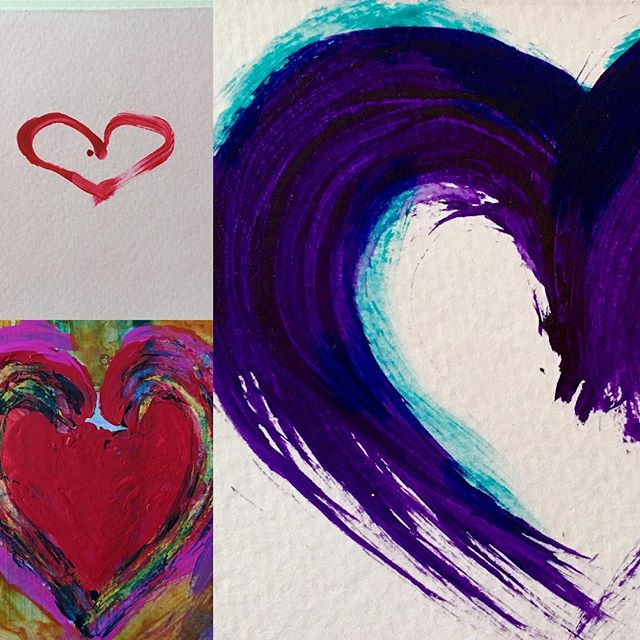 Some more Heart felt gestures #redsandmagentas #brushwork #colourandgesture #iconicsymbol #heartart #artcards #colourliftsyourspirits #funinthestudio #expressivemarkmaking