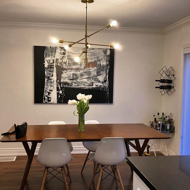 It's Seldom Black and White hanging in its new home. #loveartyoulivewith #artthatspeakstoyou #originalartonthewall #loveyourstuff #torontoartist