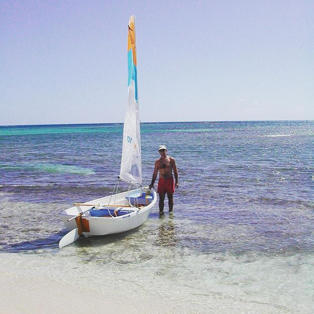 Sailing from the private beach