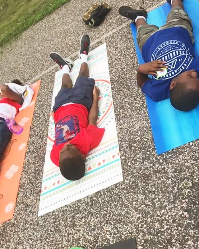 BRIDGE is so excited to have helped institute Mindfulness and Play Recess at the STEAM Summer Program with Steppingstone Scholars! Here are the students doing their final relaxation after some breathing and yoga games! ☀️ #summeryoga #kidsyoga #nonprofit #recessyoga #philly #BRIDGE