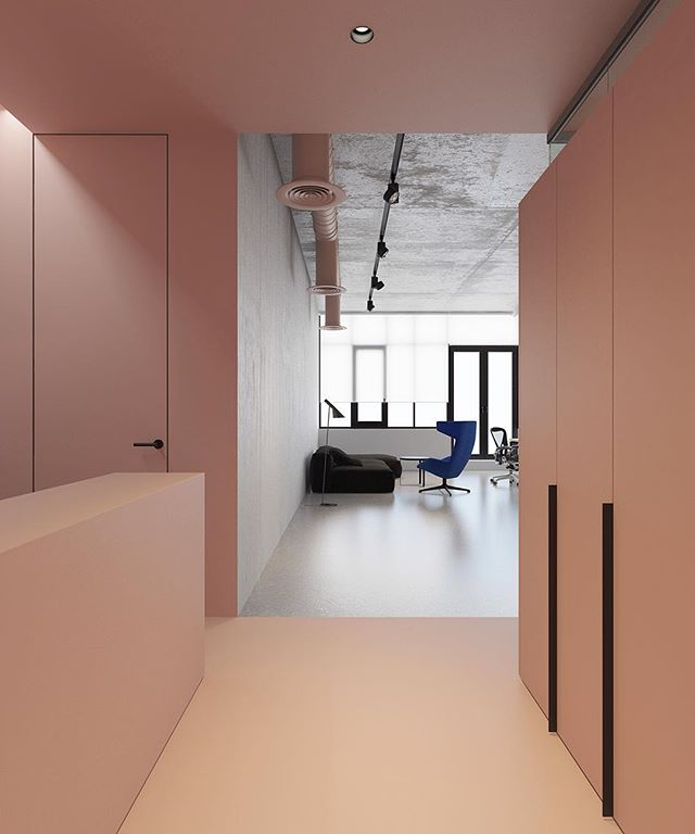 Office P by Emil Dervish.- #pinkandgrey #interiordesign #minimal #office #emildervish