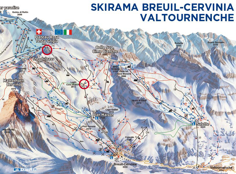 Cime Bianche and Plateau Rosa marked in red. Map from www.cervinia.it