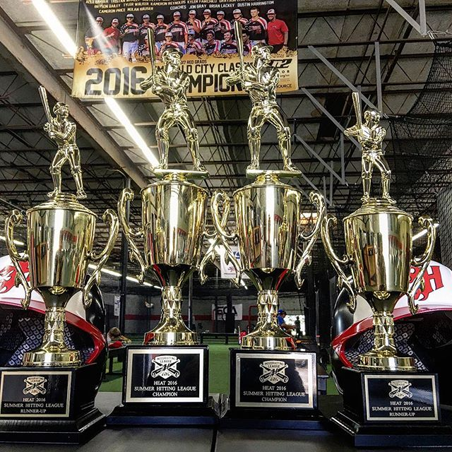 Bracket play starts in two weeks for our indoor hitting league. We are very excited to see everyone bring their A game to compete for these stunning trophies! We will have an upcoming winter hitting league as well, so we hope this influences you to sign up! #heatbaseballnc #hittingleague #thenextlevel #buildingathletes #baseball #hardworkpaysoff