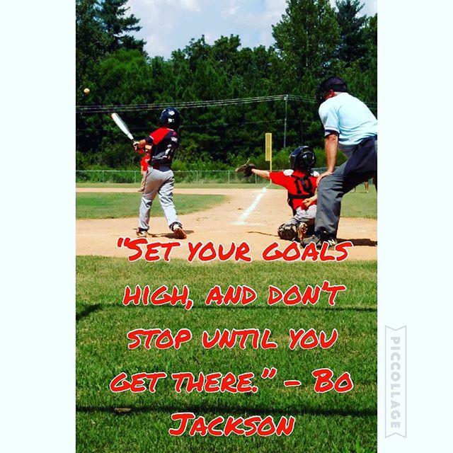 """Set your goals high, and don't stop until you get there."" – Bo Jackson #heatbaseballnc #buildingathletes #thenextlevel #hardwork #dedication #baseballyouth #motivation"