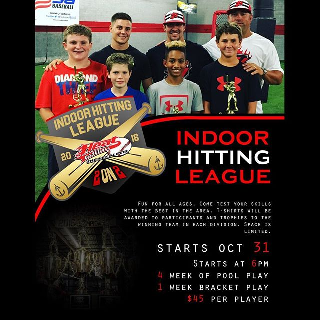 Our first indoor hitting league was a big success and we are excited to start our second one and our hoping for an even better turn out. This will be fun for all ages and will test your skills on what kind of hitter you are. We are giving out T-shirts to each participant and trophies to the winning team in each division. The winners of each division will play in a matchup against each other and against the Heat hitting instructors Dustin Harrington and Jon Gray. We will separate age groups depending of the number of participates we have sign up. During the 5 weeks we will be taking off the week of thanksgiving and start back up the following week. We are expecting spots to fill up fast so please sign up with the link below. http:www.heatbaseballnc.com/hitting-league/  #heatbaseballnc #hittingleague #baseball #anchorbats #3n2