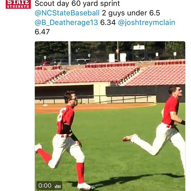 Heat alumni Josh Mclain @joshtreymclain with a 6.47 in the 60 yard sprint at scout day 🔥@NCStateBaseball #stud #heatbaseballnc #thenextlevel #buildingathletes #heatalumni #heatfamily #ncstatebaseball #ncstate #speedkills