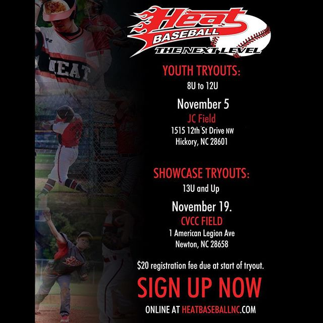 Tryouts are upon us! Please sign up by going to our website and clicking the tryout tab and entering all the information, this includes players who are already on a Heat team as well. We are excited to see what the future holds for our organization. Our coaches and staff are eager to see who has what it takes to get to the next level. Please go sign up now, age groups and times will be posted after we get everyone accounted for. #heatbaseballnc #thenextlevel #buildingathletes #summertryouts #heattryouts #tryouts #baseball. Over 100 people already signed up👊🏼