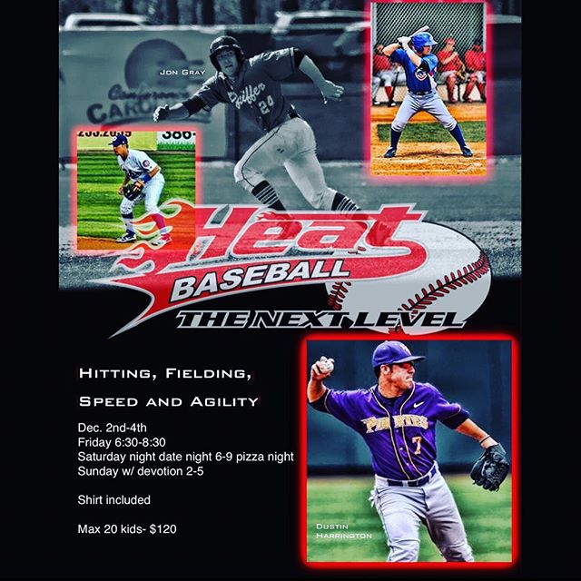 Camp starts tomorrow! Hurry and sign up!! Mark your calendars:  December 2nd-4th. 3-Day Skills camp including Hitting, Fielding, Speed & Agility drills (+camp t-shirt). Agenda:  Friday 6:30-8:30 PM,  Saturday 6:00-9:00 PM (+pizza), Sunday w/ devotion 2:00-5:00 PM.  Don't miss out on all the fun and learning with myself, Jon Gray and our skilled instructors! Limited spots available so go to our website: Www.Heatbaseballnc.com and sign up now under camps to guarantee yours.👊🏼 #buildingathletes #heatbaseballnc #camp #thenextlevel #5-toolprospects #baseballcamp #prepareforthefuture #hardwork #dedication #baseball