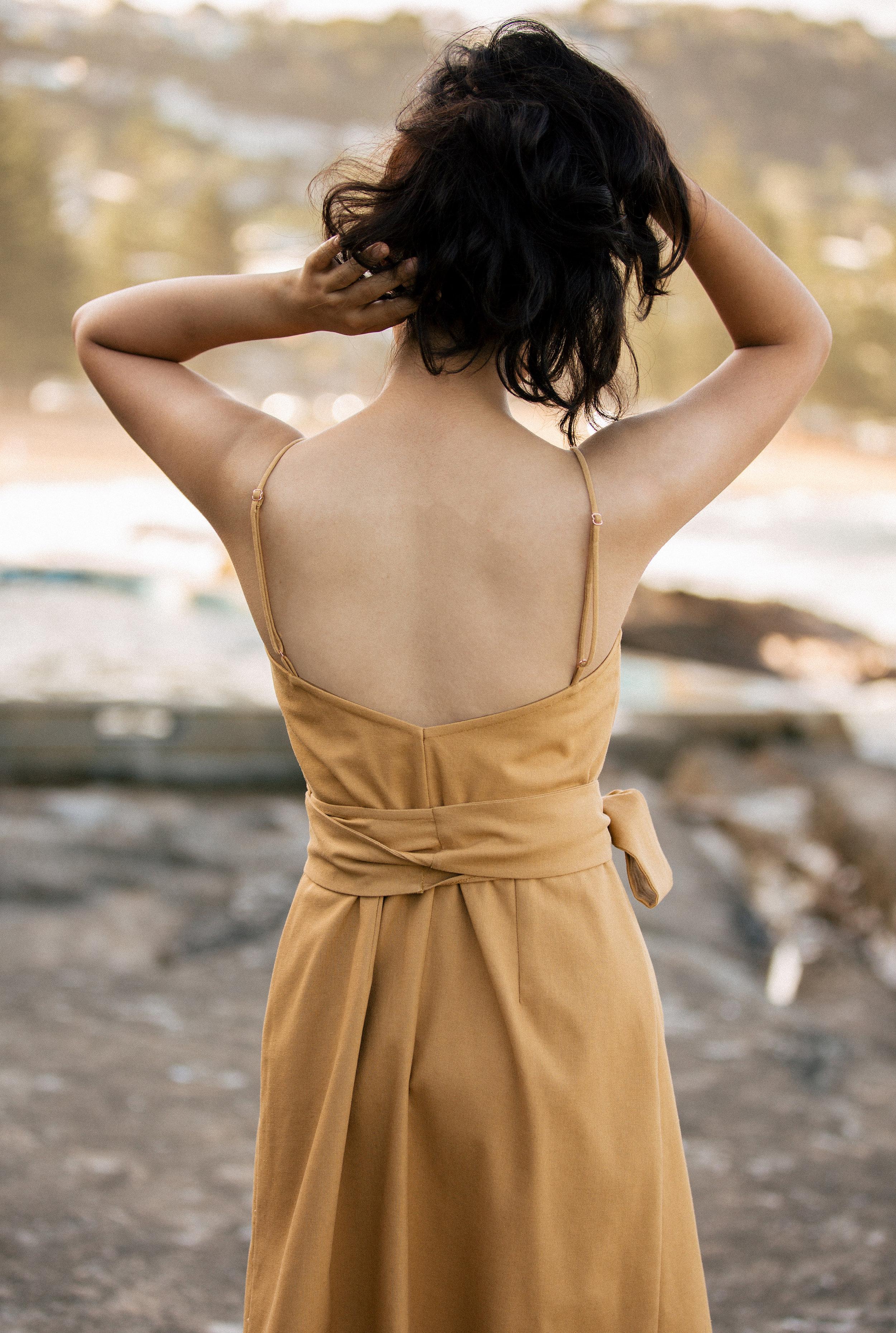 38770c3a82 EMILY MIDI DRESS. Mustard linen wrap dress