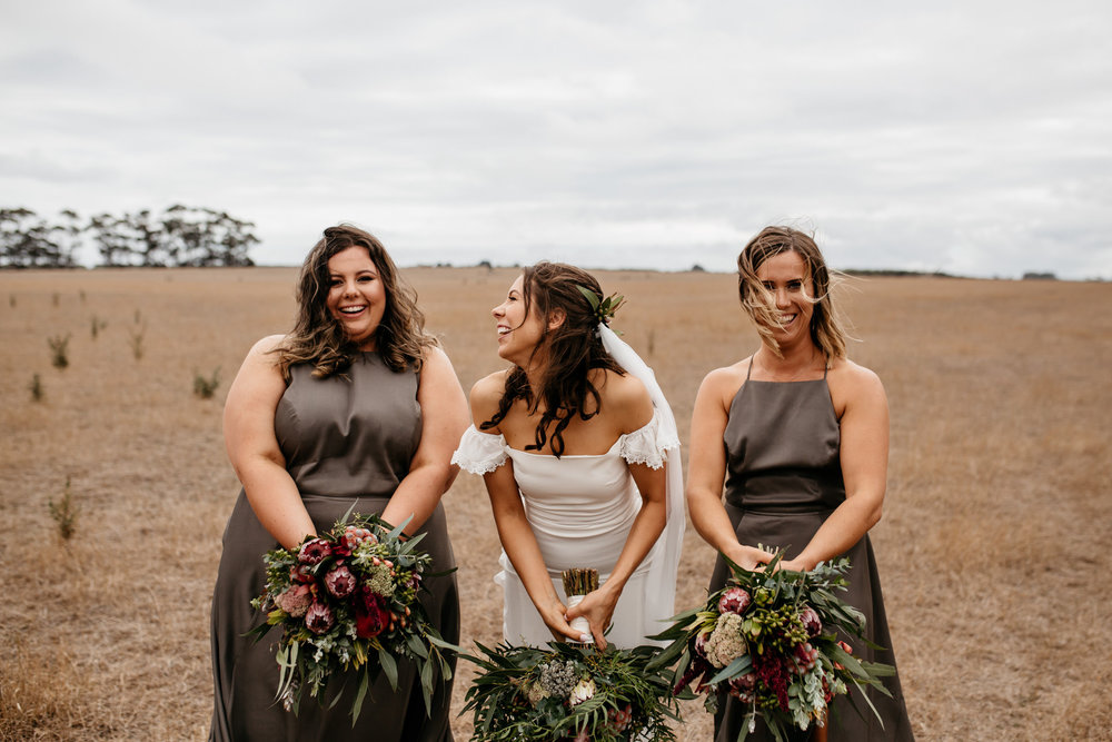 Laura and her bridesmaids in khaki midi dress
