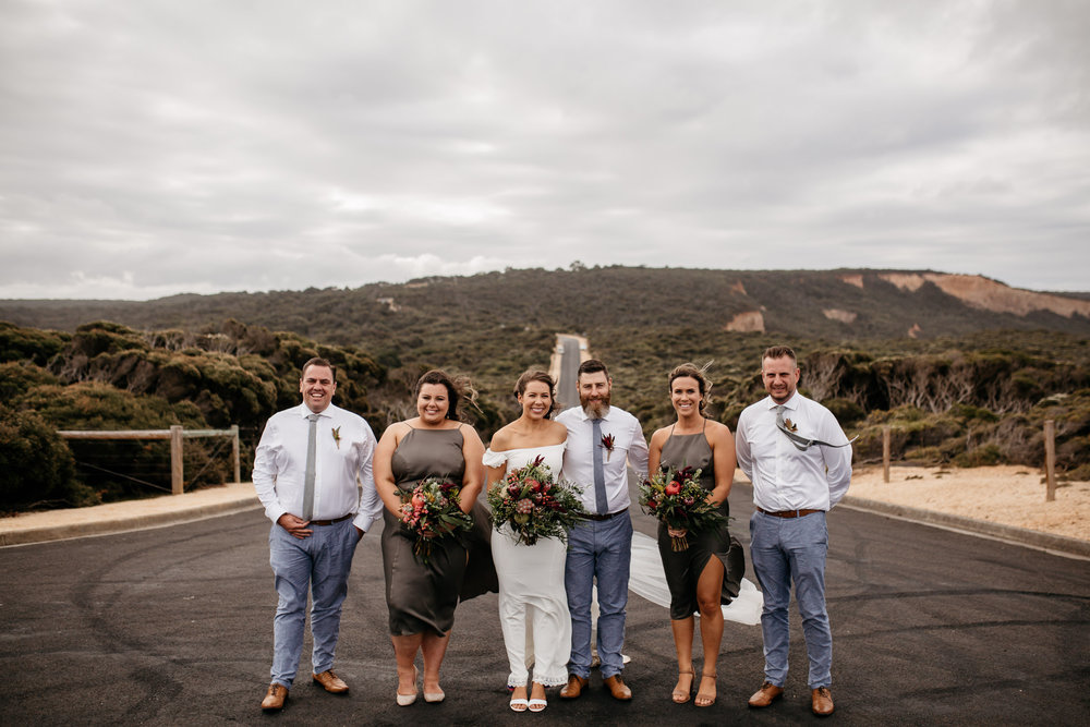 Laura and her bridesmaids in olive bridesmaid dress