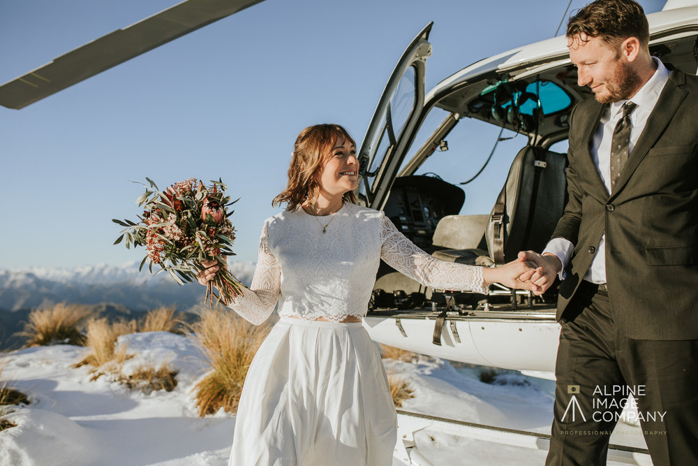 Donna and Michael Custom Lace Bridal Set Coromandel Peak Ceremony