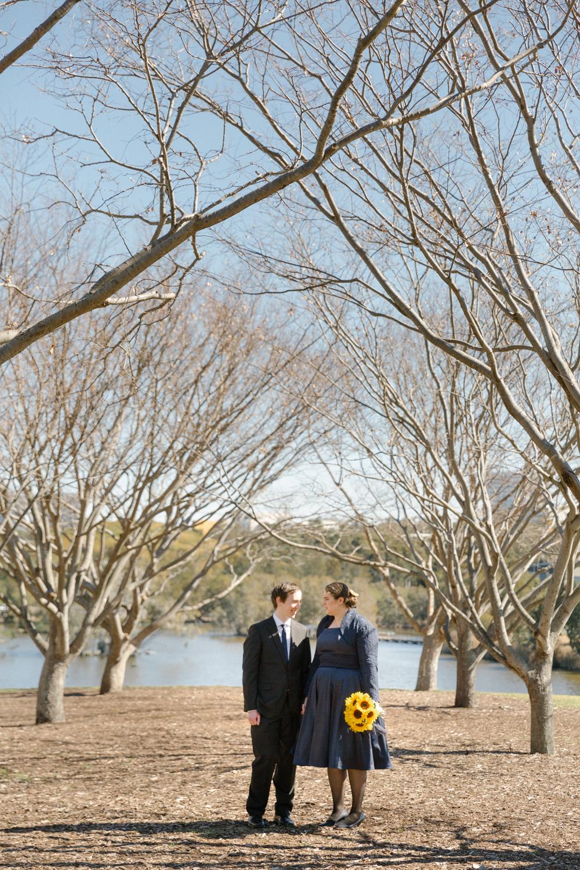 Sydney wedding with 60s style swing wedding dress with long sleeve lace bolero