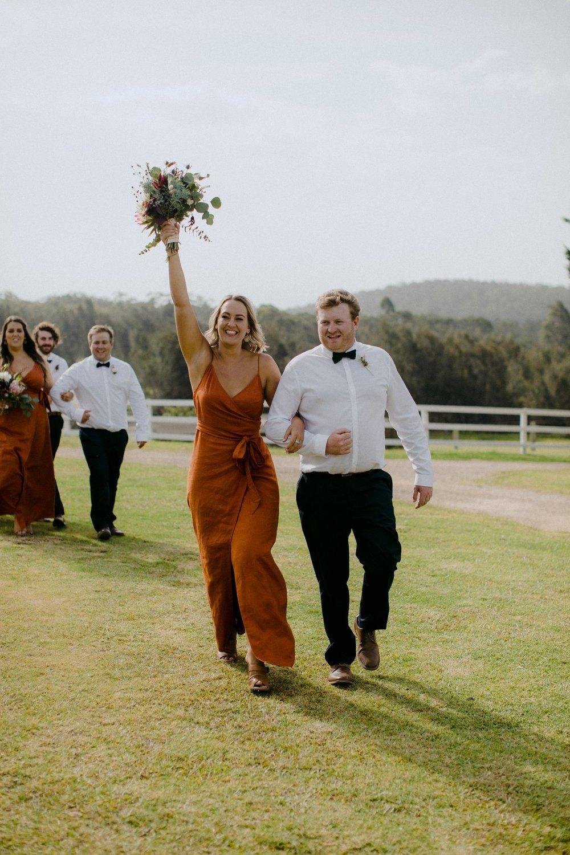 Bridesmaid dress in rust linen