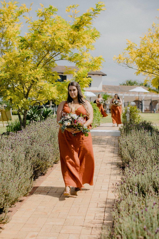 Custom sized bridesmaid dress in rustic linen