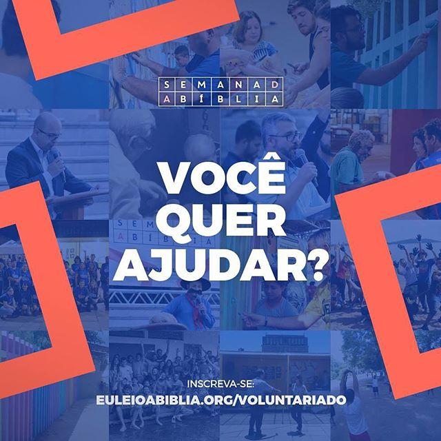 Você quer ajudar e não sabe como.  Inscreva-se em http://www.euleioabiblia.org/voluntariado/ e escolha um dia e um turno para servir à cidade nesta mobilização de voluntariado. Participe!  #SemanaDaBíbliaPOA #EuLeioABíblia #De4a10deDezembro