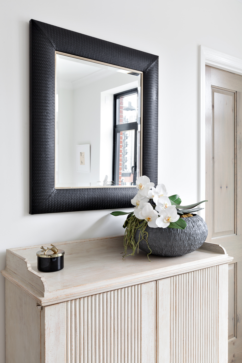 Art deco nero weave leather framed mirror klasp home by kim alessi art deco nero weave leather framed mirror amipublicfo Gallery