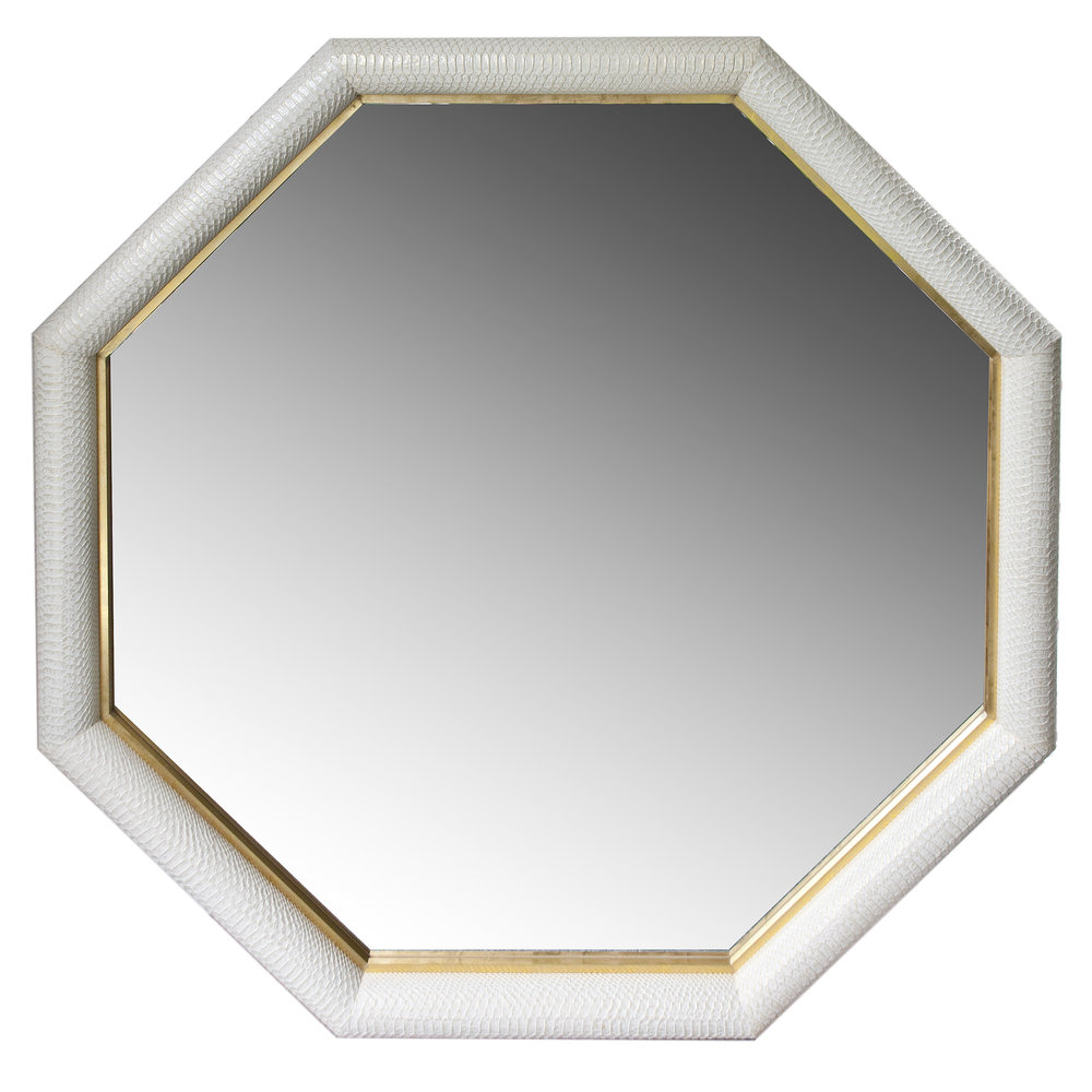 Python Embossed Italian leather Framed Mirror with Ivory w/ Gold Tipping