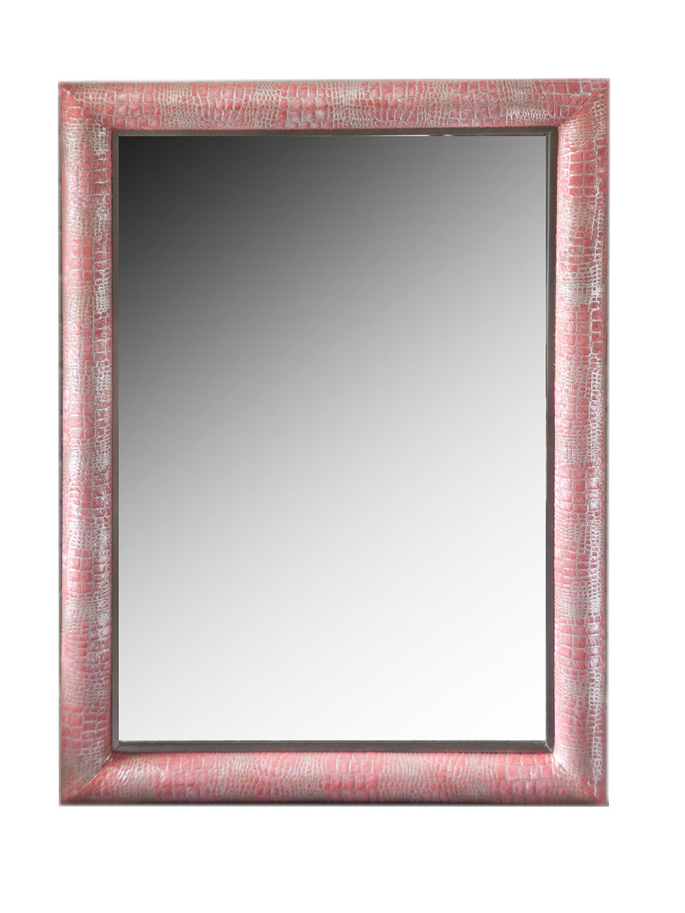 Croc Embossed hair-on hide framed mirror