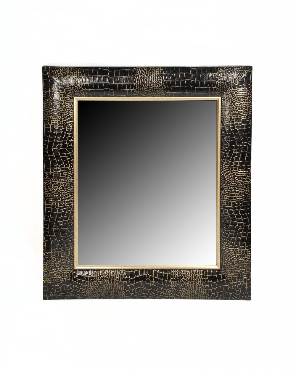 Croc Embossed Italian Leather Framed Mirror with hand-painted gold tipping