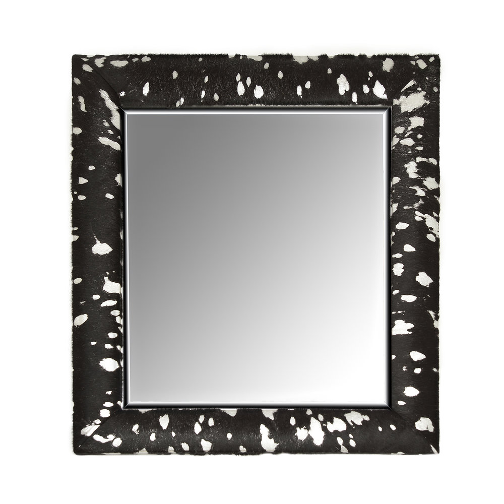 Acid effect hair-on hide framed mirror