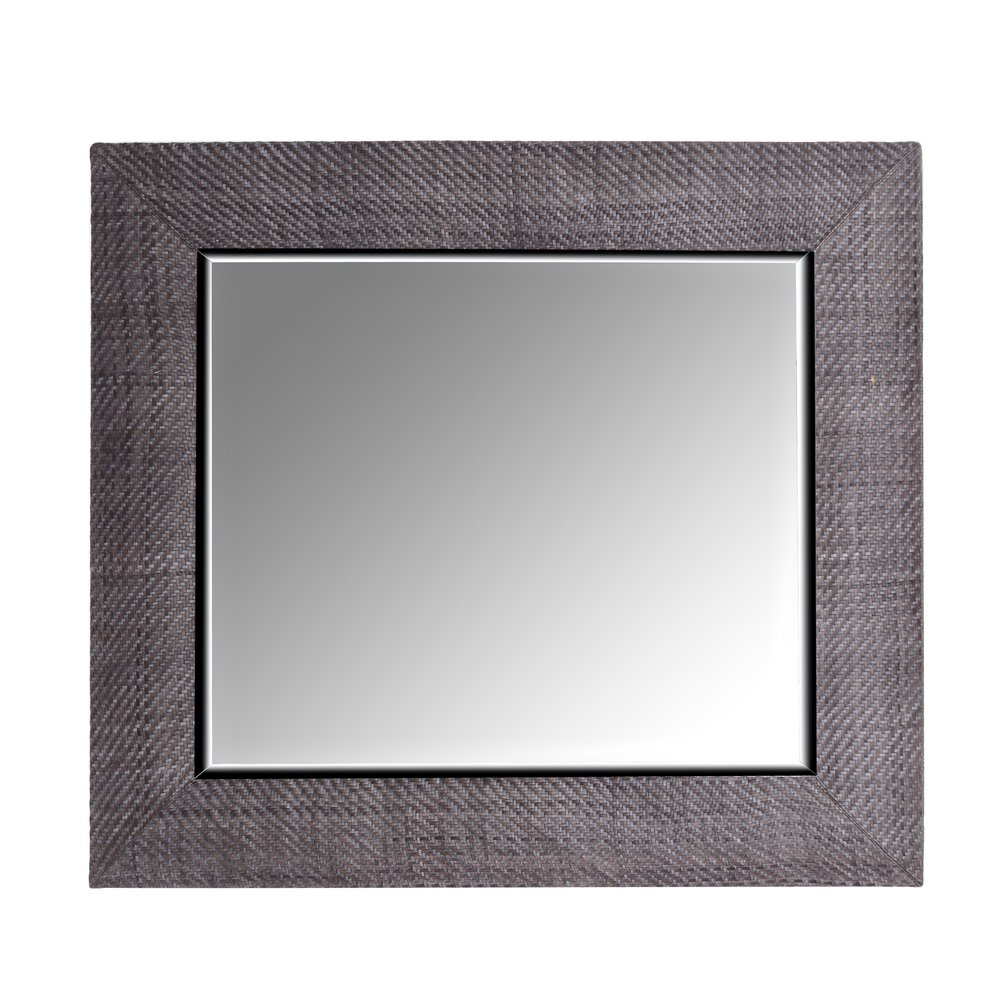 Denim Hand-woven Italian Leather Framed Mirror