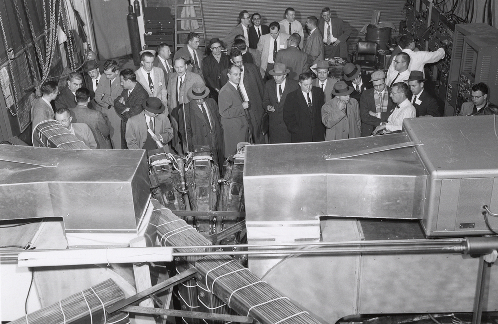 Guests tour Midwestern Universities Research Association (MURA)/Synchrotron site. Photo: University of Wisconsin Madison Archives