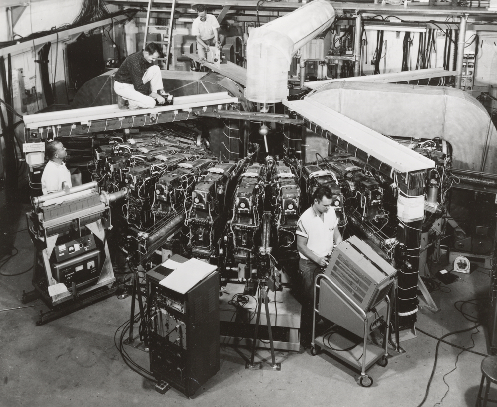 Researchers working on the 50 MeV machine at Midwestern Universities Research Association (MURA).  Don Young, Mike Shea, Hugh Thornton, and Jim Hagan. Photo: University of Wisconsin Madison Archives