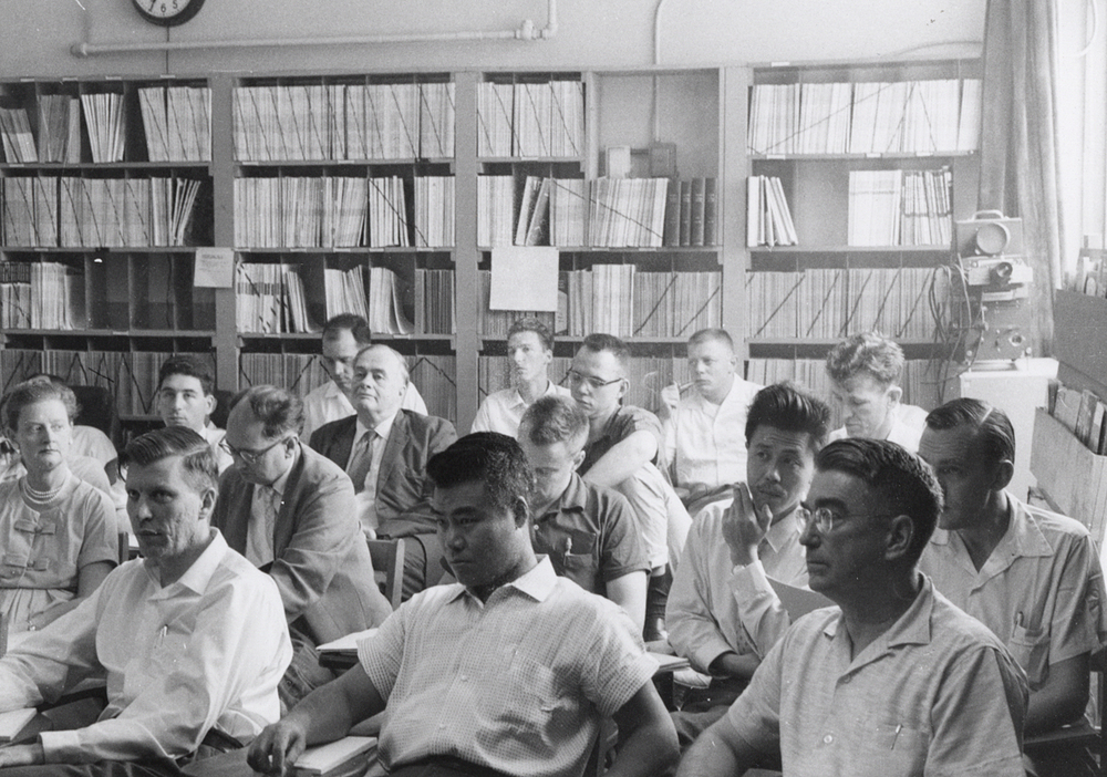 Researchers at Midwestern Universities Research Association (MURA).  Ragnar Rollefson (far right), 1959 summer study at Midwestern Universities Research Association (MURA). Photo: University of Wisconsin Madison Archives