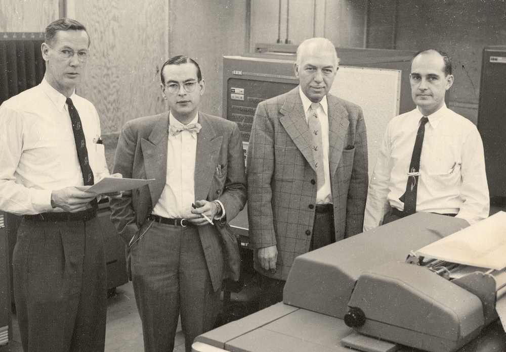 Midwestern Universities Research Association (MURA) reseachers.  Don Kerst, Jim Snyder, Gerald Kruger and Keith Symon. Photo: University of Wisconsin Madison Archives